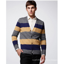 Cotton ODM Fashion Clothing Striped Man Cardigan with Button