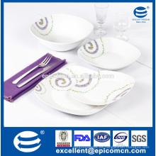 Super cerámica blanca 19 piezas cuadrados de porcelana de la forma de vajilla con gran ensaladera