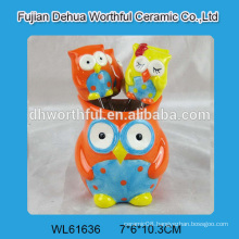Wholesale ceramic fruit fork set / ceramic fruit pick in cute owl shape