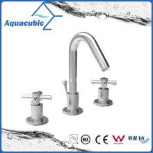 Three Hole Basin Faucet Chromed Brass Lavatory Faucet (AF0024-6)
