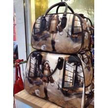 Latest New Fashion Printing Pu leather duffel trolley bag