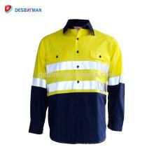 Hola Camisas de seguridad Vis Work Camisa de algodón ligero reflectante con bolsillos y cinta reflectante 3M