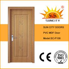 Дешевой цене ПВХ дизайн ванной комнаты дверь (СК-P108)