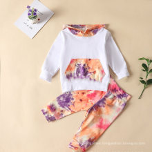 Most Popular Fall Autumn Hoodie Tie Dye Printed Manufacturer Children′s Clothing Sets Girls
