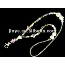 Fashion cute crystal beaded jewelry keychain glitter lanyards