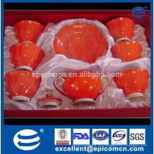 Geschenk Tee-Set auf Verkauf Knochen Porzellan Tassen und Untertassen mit Teekanne