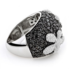 Black CZ Diamond Flower Silver Ring 925 Prata Jóias