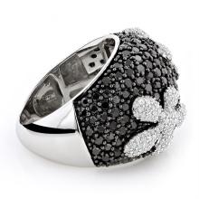 Черное CZ Diamond Flower Серебряное кольцо 925 серебряных украшений