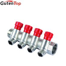 LB Guten top alça de Alumínio MLstyle 4 way manifold com válvula de esfera de bronze 1/2 latão nocaute de água do cilindro