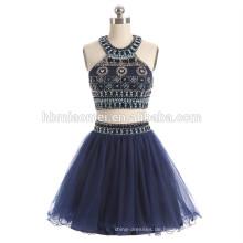 2017 heißer verkauf kurze design blaue farbe abendkleid 2 stücke set schwere perlen plus größe abendkleid für party und hochzeit