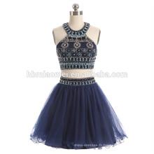 2017 vente chaude court design bleu couleur robe de soirée 2 pcs ensemble lourd perles plus la robe de soirée taille pour la fête et le mariage