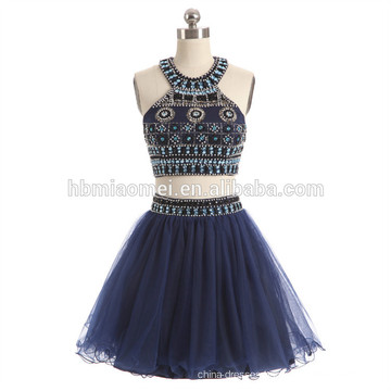 2017 hot sell short design blue color evening dress 2pcs set heavy beaded plus size evening dress for party and wedding