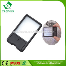 Card shape plastic reading magnifier with led light for elderly