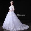 Vestido de noche elegante con manga larga blanca apliques de encaje elegante Vestido de noche largo con manga larga