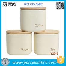 Pot en céramique concis et facile avec couvercle en bois
