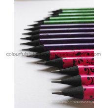 Crayon en bois noir en forme ronde