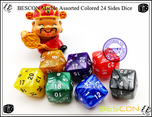 BESCON Marble Assorted Colored 24 Sides Dice