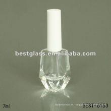 Botella de esmalte de uñas transparente de 7 ml con tapón blanco
