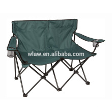 Two seater folding camping double beach lover chairs w cup holder