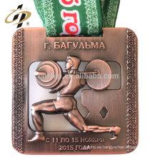 Bronce antiguo 3D recorta medallas de deportes de trofeos de metal powerlifting