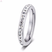 Cheap Latest Design Silver Stainless Steel Rhinestone Rings For Women