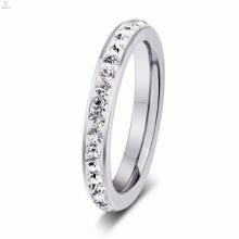 Barato Mais Recente Design de Prata de Aço Inoxidável Rhinestone Anéis Para As Mulheres