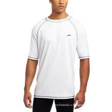 O мужчин УПФ 50+ легкий короткий рукав футболка для плавания Рашгарды