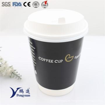 Desechables doble pared de aislamiento de papel caliente de café tazas