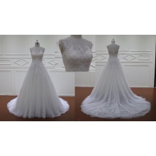 Top Charming A Line Court Train Lace Bridal Dress