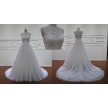 Sheer Kleid A-Line Brautkleid Perlen