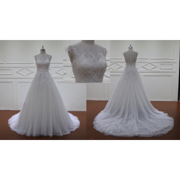 Sheer Gown A-Line Bridal Dress Beads