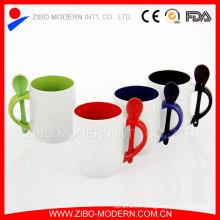 Custom Promotion Souvenir 13oz Spoon in Handle Square Coffee Mug
