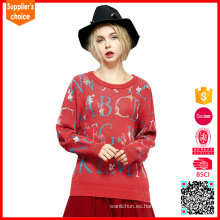 Pullover de las mujeres del knitwear del telar jacquar del suéter de la manera del suéter de las nuevas mujeres del diseño