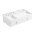 2 Drawers White Counter Top Cosmetic Organizer