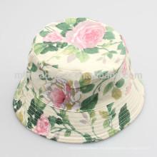 Sombreros lindos del verano Sun de los niños Sombreros florales de encargo del cubo de la impresión