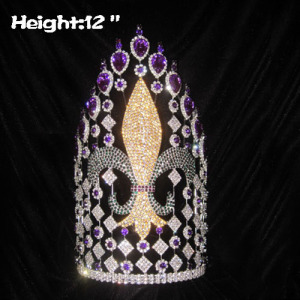 12in Large Custom Fleur De Lis Pageant Queen Crowns