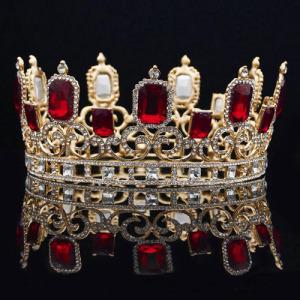Grandes coronas de desfile redondas con diamantes rojos