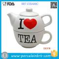 Bule de chá de novidade pintada Eu amo chá Bule de chá de cerâmica