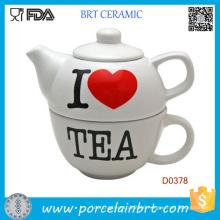 Novelty Tea Pot Painted I Love Tea Ceramic Tea Pot
