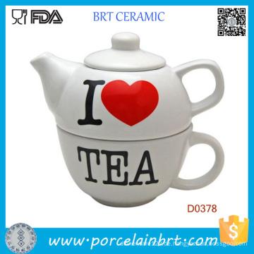 Neuheit Teekanne bemalt I Love Tea Keramik Teekanne