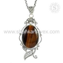 New fashion 2017 tiger eye gemstone silver jewelry handmade pendant 925 sterling silver jewelry wholesaler
