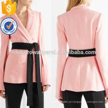 Lona rosa com decote em v manga longa primavera jaqueta com cinto de manufatura atacado moda feminina vestuário (ta0005j)