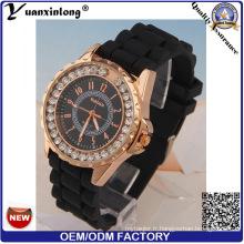 Yxl-164 Mode Diamant Dames Montre Quartz Silicone Sport Lady Montres Cadeau Genève Montre-Bracelet en Stock En Gros Usine
