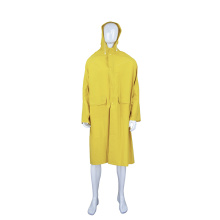 waterproof 120cm long yellow PVC raincoat