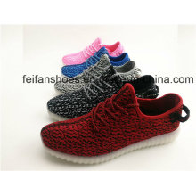 New Arrival Unisex LED Light Flyknit Changeable Colorful Running Shoes