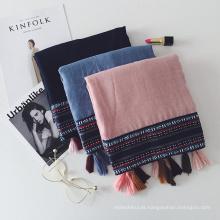 Retro estilo nacional hijab lenço de algodão e linha de material cor fronteira lenço de borla