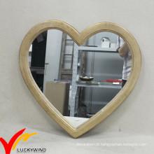 Vintage Plain Wood em forma de coração espelhos para Wall Decor