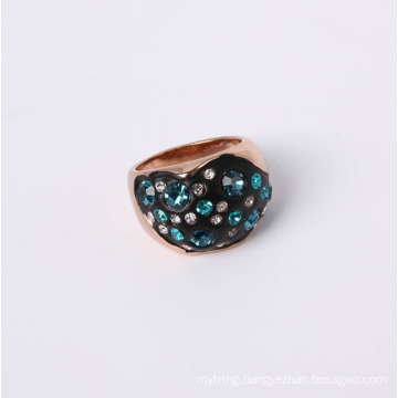 Fashion Jewelry Ring with Black Enamel and Rhinestones