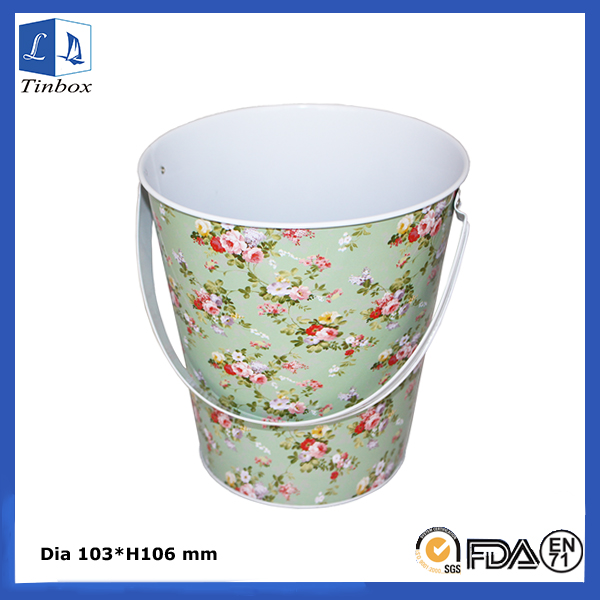 Tin Ice Bucket With Handle For Sale