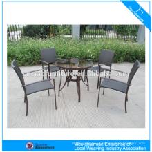Mesa de vime de mobiliário de alumínio moderno ao ar livre e cadeira GS3003